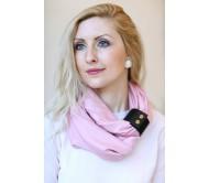 Šalikas-movas su odine detale šviesiai rožinis