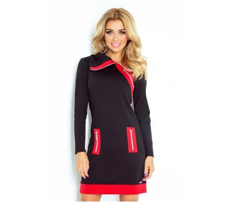 Suknelė JUSTINA juoda-raudona