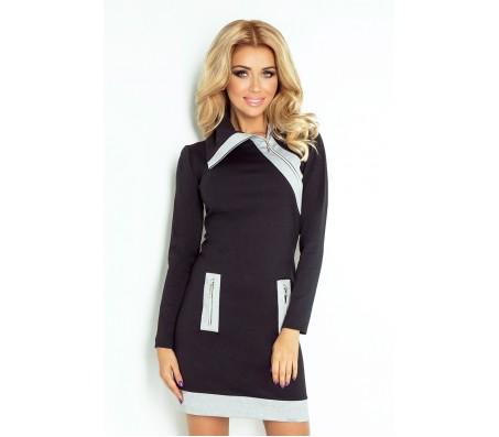 Suknelė JUSTINA juoda-pilka