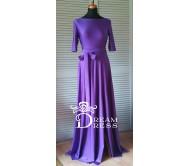 Ilga suknelė ADORIA violetinė su rankovėmis