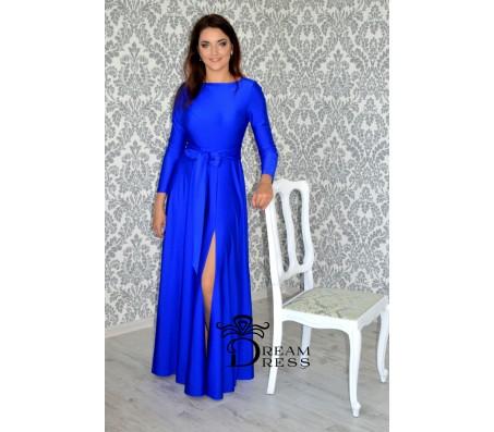 Ilga suknelė ADORIA mėlyna su rankovėmis