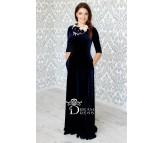 Ilga proginė suknelė AMANDA tamsiai mėlyna