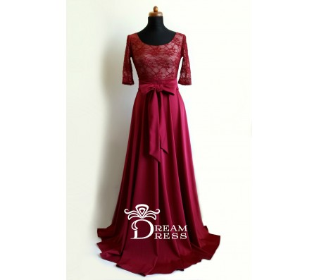 Ilga suknelė CAROLINE bordo