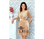 Proginė suknelė AMANDA kreminė su nėriniais