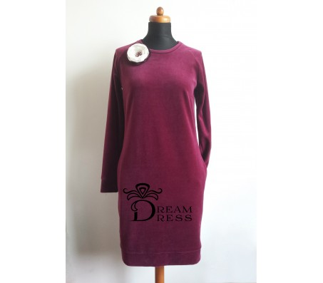 Veliūrinė suknelė ADALIA bordo