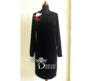 Veliūrinė suknelė ADALIA juoda
