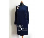 Veliūrinė suknelė ADALIA tamsiai mėlyna