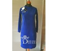 Veliūrinė suknelė ADALIA ryški mėlyna