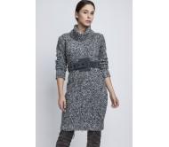 Megzta suknelė GERDA pilka-juoda